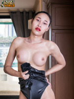 Lovely Heartbeat seduces with the sultry expression in her face, as much as with her sexy body. The yummy Asian poses in nothing but her matching black heels and pvc jumpsuit, wanting your full attention...