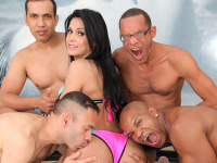 Bruna Butterfly gangbang - Watch the beautiful TS Bruna Butterfly take her first gangbang!