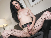 Anastasia is back on Canada TGirl stage with her hot body. She's in sexy goth outfit until she takes them off and shows off her ass and cock. Once naked Anastasia grabs her cock and starts havin' fun with it! Welcome back come Anastasia!
