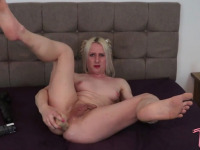 Sexy British tgirl Katie Foxx tries out some of her huge dildos from her big dildo collection!