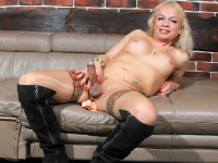 Beautiful blonde TMilf Diana Klyueva is here! She has nice tits with succulent nipples that beg to be sucked, an ass that's damn fuckable and a cock that's waiting to be pleased. She loves to play with toys and wants you to watch her hot TGirl 40 debut now!