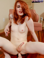 Horny redhead Aimee Fawx is back with another hot scene and she brings her toys again! Aimee loves fucking her tight hole with her big dildo! Watch her riding her toy and playing with her cock in today's...