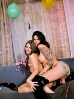 Hot tgirls Ashley & Morgan playing with each other
